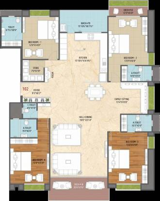 M J Lotus Heart (4BHK+5T (2,351.48 sq ft) Apartment 2351.48 sq ft)