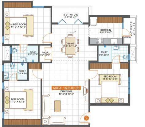 Sri Saila Blest (3BHK+3T (1,605 sq ft) Apartment 1605 sq ft)