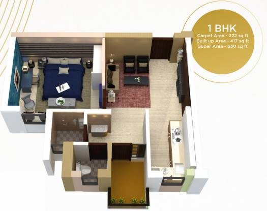 Gaurav The Eastern Park (1BHK+1T (620 sq ft) Apartment 620 sq ft)
