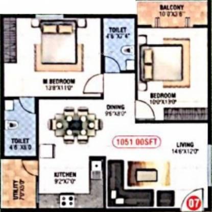 Sapthagiri Vaibhava (2BHK+2T (1,051 sq ft) Apartment 1051 sq ft)