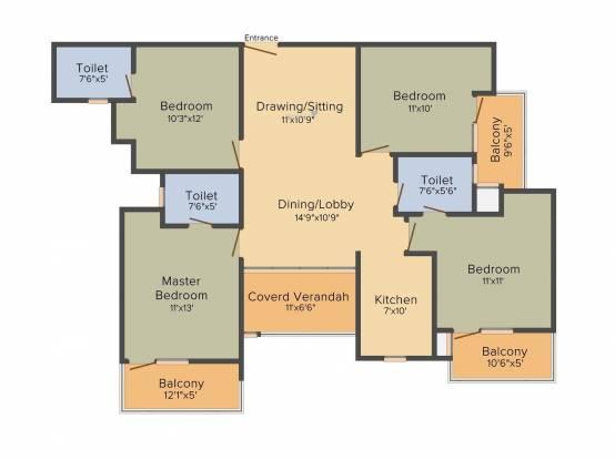 Ajnara Enclave (4BHK+3T (1,949.99 sq ft) Apartment 1949.99 sq ft)