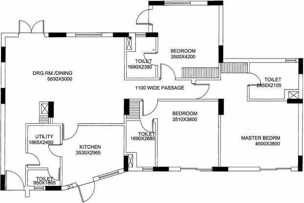 Unitech Uniworld Gardens (3BHK+3T (1,800 sq ft) Apartment 1800 sq ft)
