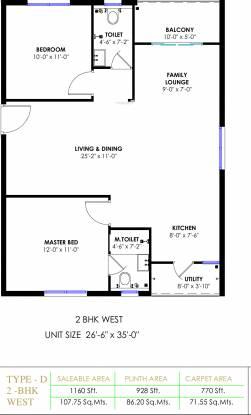 Praneeth APR Pranav Townsquare (2BHK+2T (1,160 sq ft) Apartment 1160 sq ft)