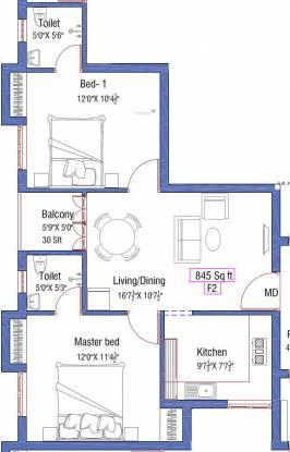 Anu Sri Agathiya Flats (2BHK+2T (845 sq ft) Apartment 845 sq ft)