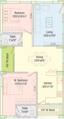 APR Praveens Prime (2BHK+2T (1,154.97 sq ft) Apartment 1154.97 sq ft)