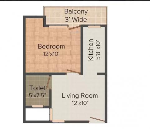 JSB Vashnav Apartment (1BHK+1T (450 sq ft) Apartment 450 sq ft)