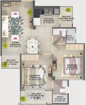 Signature Orchard Avenue 2 (2BHK+2T (539.384 sq ft) Apartment 539.384 sq ft)