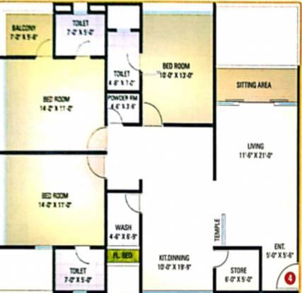 Meera Park (3BHK+3T (1,089.85 sq ft) Apartment 1089.85 sq ft)