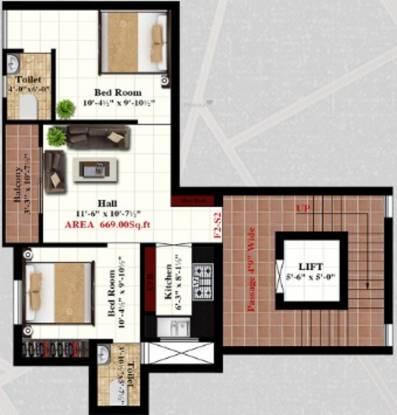 R M RMC Flats (2BHK+2T (669 sq ft) Apartment 669 sq ft)