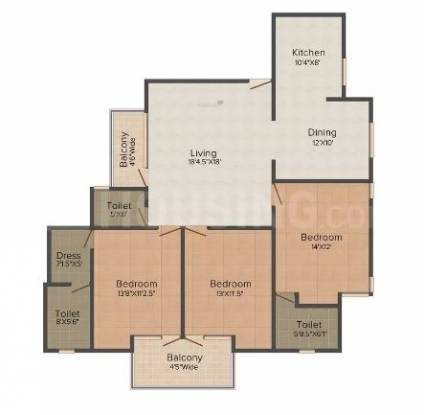 JVTS Gardens (3BHK+3T (1,650 sq ft) Apartment 1650 sq ft)