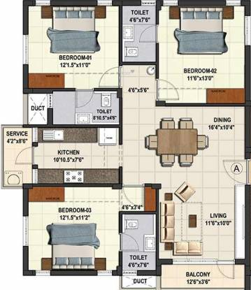 Kgeyes Pari Street Besant Nagar (3BHK+3T (1,293 sq ft) Apartment 1293 sq ft)