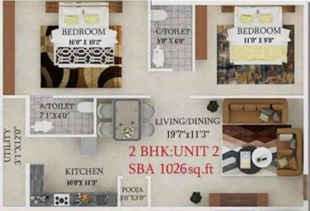 Suvedha Elegant (2BHK+2T (1,026 sq ft) Apartment 1026 sq ft)