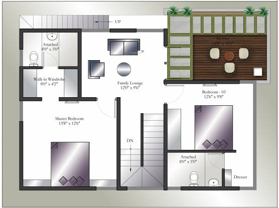 Gravity Forest View (3BHK+3T (1,950 sq ft) + Study Room Villa 1950 sq ft)