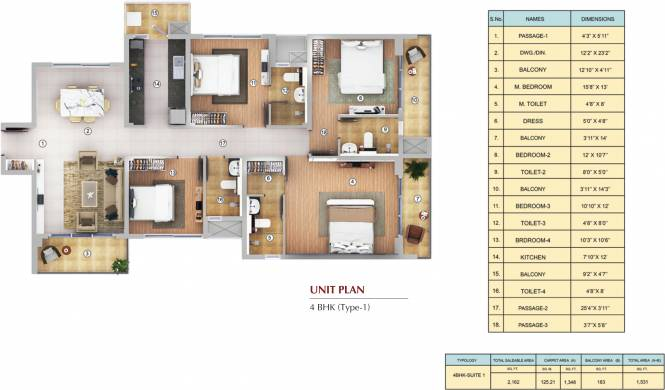Shapoorji Pallonji Joyville Tower Crown (4BHK+4T (1,531 sq ft) Apartment 1531 sq ft)