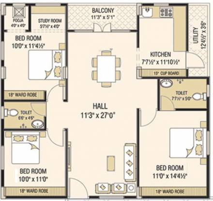 Sardar Nest Sapphire And Square (3BHK+3T (975.32 sq ft) Apartment 975.32 sq ft)