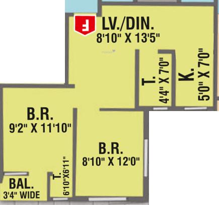 Jai Hanuman Riverside (2BHK+2T (645 sq ft) Apartment 645 sq ft)