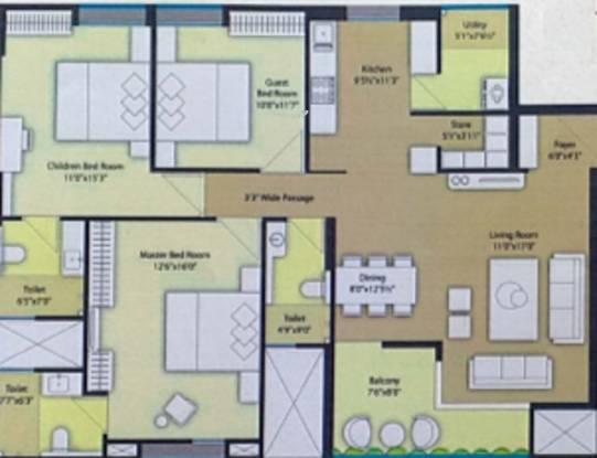 Siddhivinayak Highland (3BHK+3T (1,133.22 sq ft) Apartment 1133.22 sq ft)