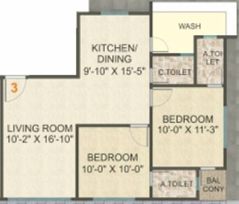 Shine City Homes (2BHK+3T (672.64 sq ft) Apartment 672.64 sq ft)