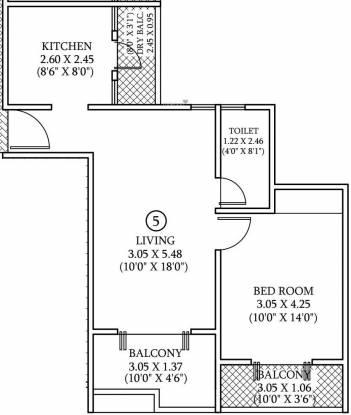 Mahalaxmi Zen Estate (1BHK+1T (455.74 sq ft) Apartment 455.74 sq ft)