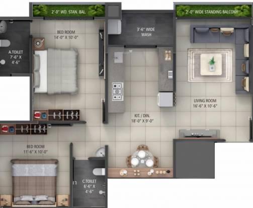 Soham Elegance C D E (2BHK+2T (706.22 sq ft) Apartment 706.22 sq ft)