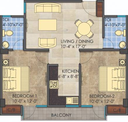 Nirmal Young India Homes (2BHK+2T (1,166 sq ft) Apartment 1166 sq ft)