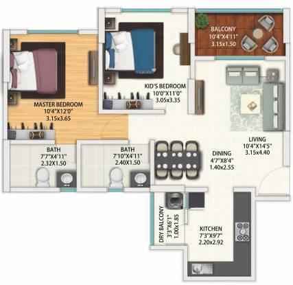 Geras World Of Joy S (2BHK+2T (634.32 sq ft) Apartment 634.32 sq ft)