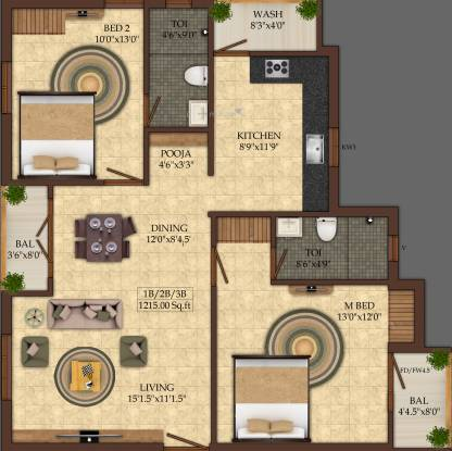 India Winchester (2BHK+2T (1,215 sq ft) Apartment 1215 sq ft)