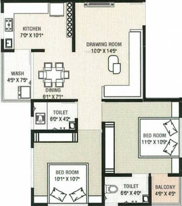Sarthak Flora (2BHK+2T (580.39 sq ft) Apartment 580.39 sq ft)
