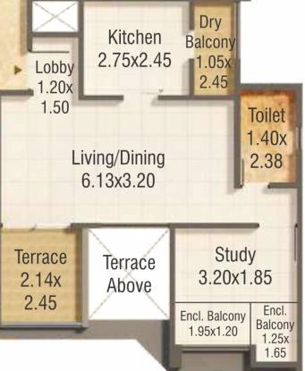 Kumar Pratham A B C And Shops (1BHK+1T (446.70 sq ft) Apartment 446.7 sq ft)