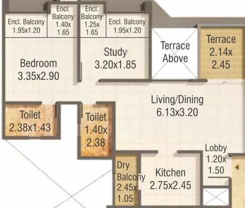 Kumar Pratham A B C And Shops (2BHK+2T (597.40 sq ft) Apartment 597.4 sq ft)