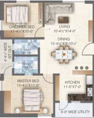 RSRPPL Sai Spoorthy Avenue (2BHK+2T (1,125.04 sq ft) Apartment 1125.04 sq ft)