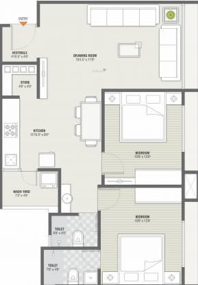 Swastik Sopan 2 (2BHK+2T (734.64 sq ft) Apartment 734.64 sq ft)