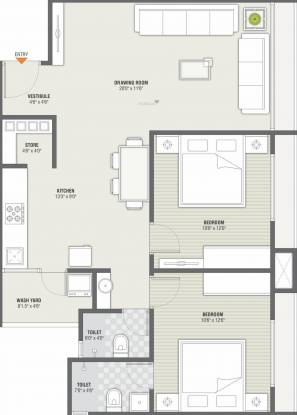 Swastik Sopan 2 (2BHK+2T (772.74 sq ft) Apartment 772.74 sq ft)
