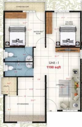 VR Residency (2BHK+2T (1,190 sq ft) Apartment 1190 sq ft)
