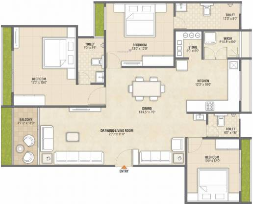 Anjani Sharnam Sky View (3BHK+3T (1,234.19 sq ft) Apartment 1234.19 sq ft)
