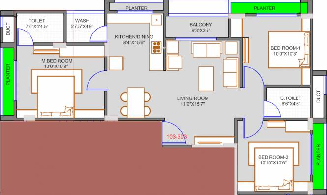 AAA Manibhadra Enclave (3BHK+3T (771.88 sq ft) Apartment 771.88 sq ft)