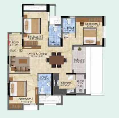Radiance Suprema (3BHK+3T (1,422 sq ft) Apartment 1422 sq ft)