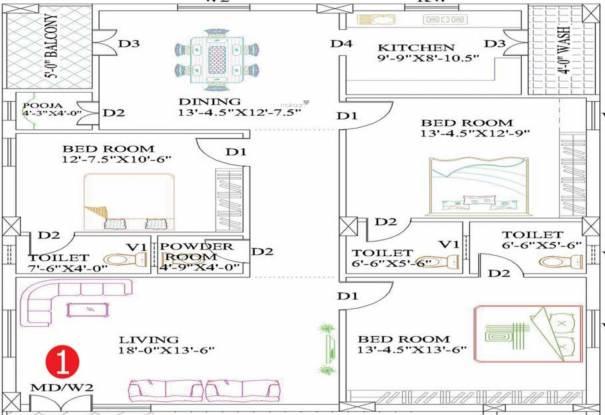 Indraa Sai Chandra Classics (3BHK+3T (1,255.72 sq ft) + Pooja Room Apartment 1255.72 sq ft)